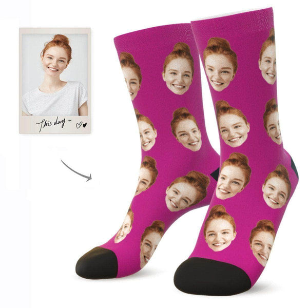 MyPicSocks Custom Face Socks RASPBERRY / L (Women's 12+ / Men's 10-13) Custom Facesocks - Put Your Loved One's Face On Socks