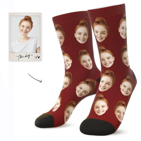 MyPicSocks Custom Face Socks BURGUNDY / L (Women's 12+ / Men's 10-13) Custom Facesocks - Put Your Loved One's Face On Socks