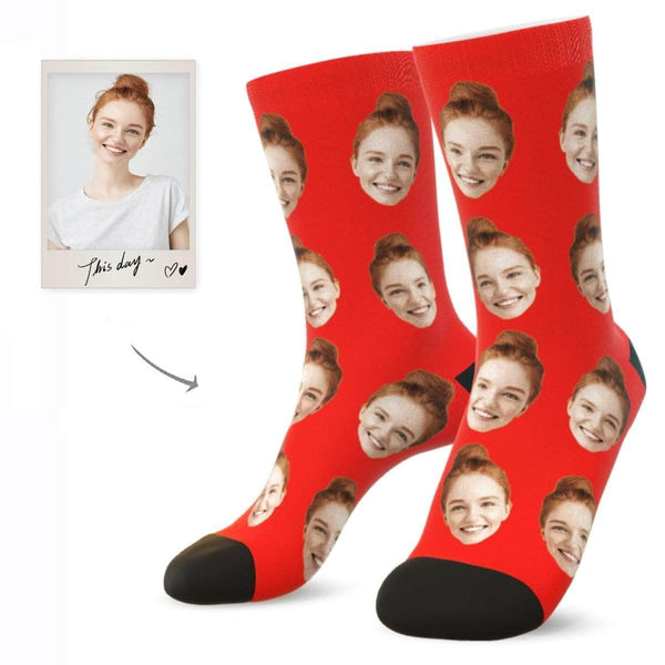 MyPicSocks Custom Face Socks RED / L (Women's 12+ / Men's 10-13) Custom Facesocks - Put Your Loved One's Face On Socks