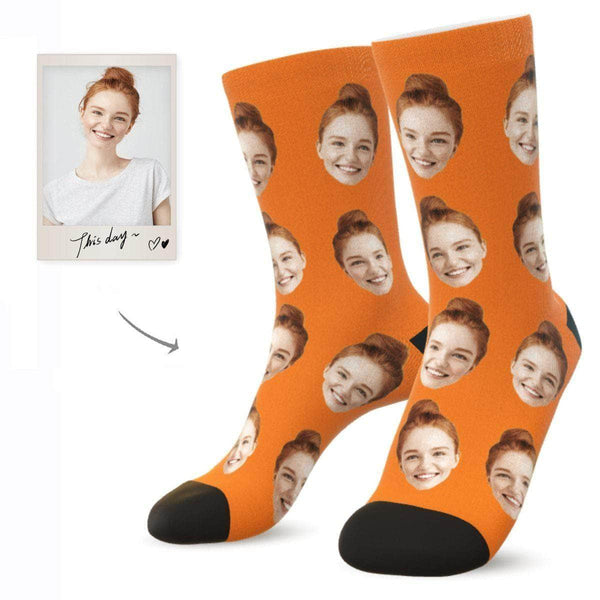 MyPicSocks Custom Face Socks ORANGE / L (Women's 12+ / Men's 10-13) Custom Facesocks - Put Your Loved One's Face On Socks