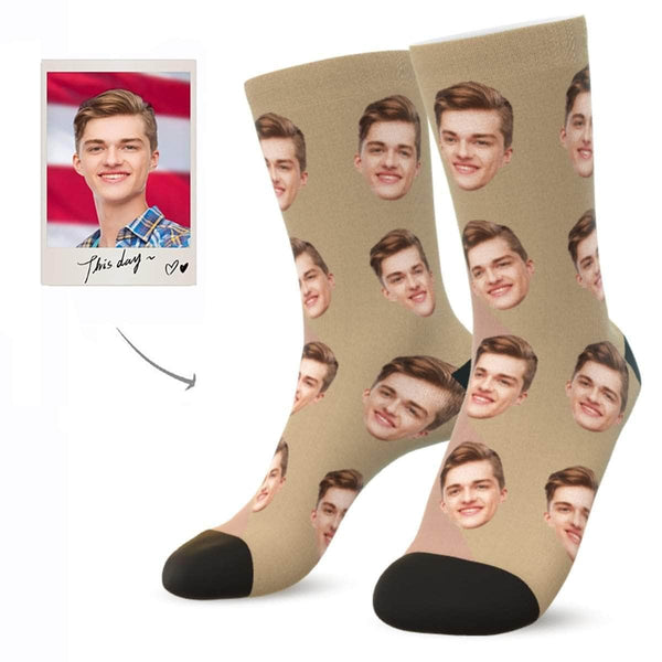 MyPicSocks Custom Face Socks LATTE / L (Women's 12+ / Men's 10-13) Custom Facesocks - Put Your Loved One's Face On Socks
