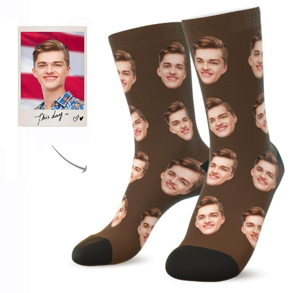 MyPicSocks Custom Face Socks COCOA / L (Women's 12+ / Men's 10-13) Custom Facesocks - Put Your Loved One's Face On Socks