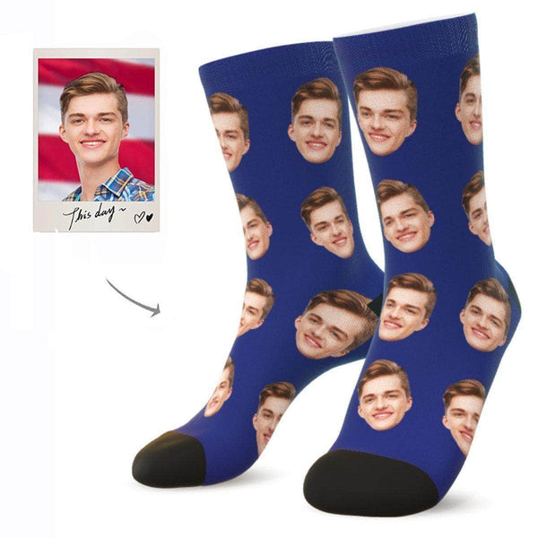 MyPicSocks Custom Face Socks NAVY / L (Women's 12+ / Men's 10-13) Custom Facesocks - Put Your Loved One's Face On Socks