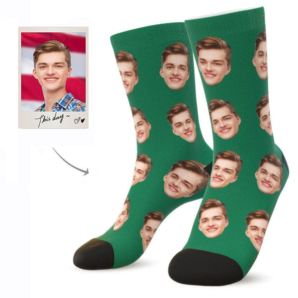 MyPicSocks Custom Face Socks EMERALD / L (Women's 12+ / Men's 10-13) Custom Facesocks - Put Your Loved One's Face On Socks