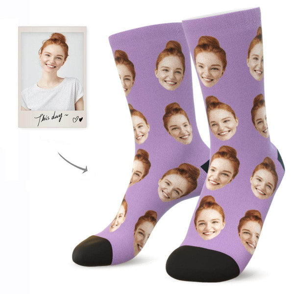 MyPicSocks Custom Face Socks LAVENDER / L (Women's 12+ / Men's 10-13) Custom Facesocks - Put Your Loved One's Face On Socks