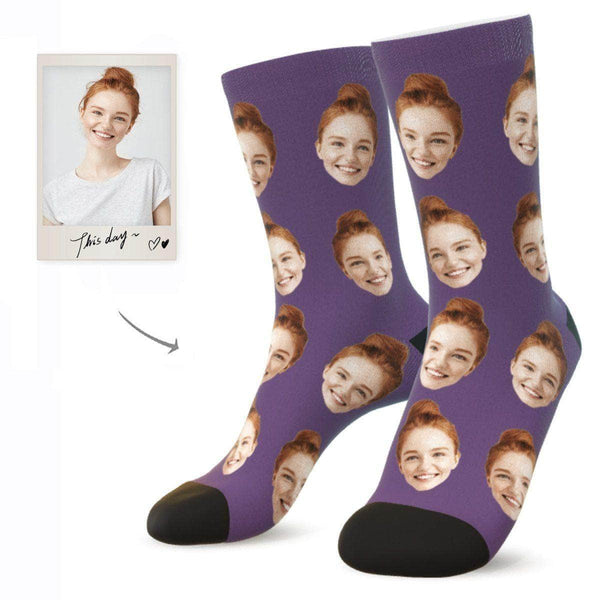 MyPicSocks Custom Face Socks PLUM / L (Women's 12+ / Men's 10-13) Custom Facesocks - Put Your Loved One's Face On Socks