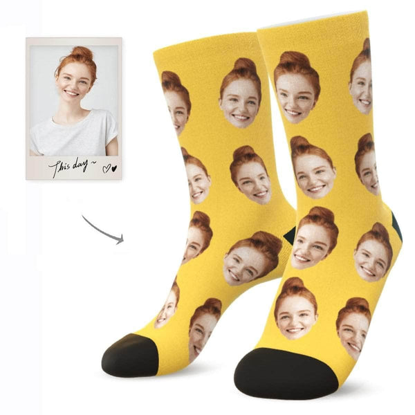 MyPicSocks Custom Face Socks SUNFLOWER / L (Women's 12+ / Men's 10-13) Custom Facesocks - Put Your Loved One's Face On Socks
