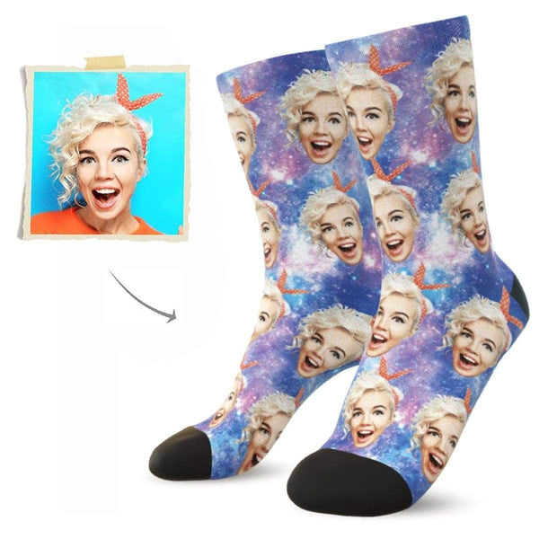 MyPicSocks Custom Face Socks M (Women's 9-12 / Men's 7-10) Custom Galaxy Face Socks - Put Any Face On Socks - Personalized Gift