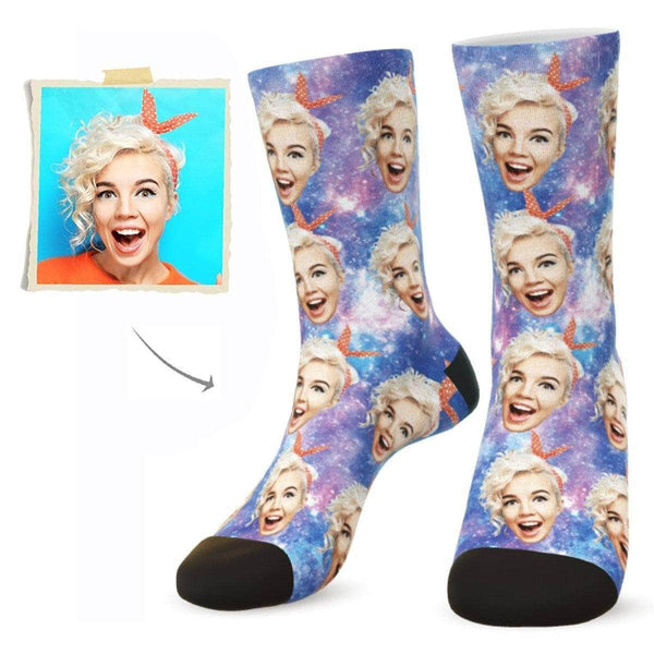 MyPicSocks Custom Face Socks L (Women's 12+ / Men's 10-13) Custom Galaxy Face Socks - Put Any Face On Socks - Personalized Gift
