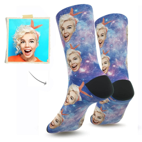 MyPicSocks Custom Face Socks S (Women's 4-8) Custom Galaxy Face Socks - Put Any Face On Socks - Personalized Gift