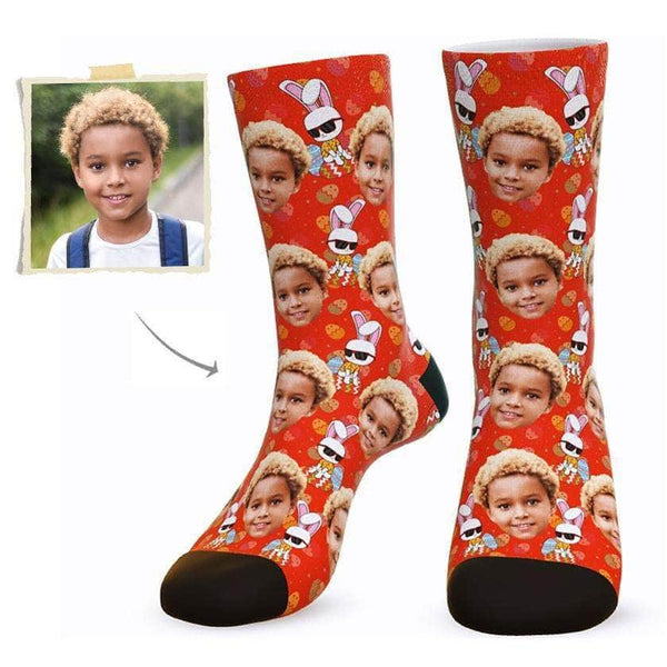 MyPicSocks Custom Face Socks L (Women's 12+ / Men's 10-13) Custom Happy Easter Face Socks ( Funkie Bunny 3) - Best Gifts To Make This Easter Special