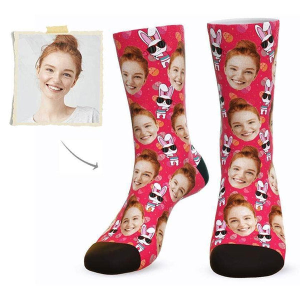 MyPicSocks Custom Face Socks L (Women's 12+ / Men's 10-13) Custom Happy Easter Face Socks ( Funkie Bunny 4) - Best Gifts To Make This Easter Special