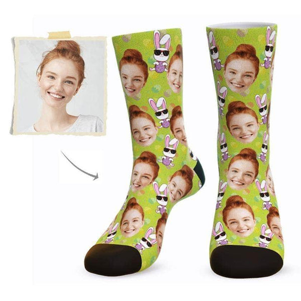 MyPicSocks Custom Face Socks L (Women's 12+ / Men's 10-13) Custom Happy Easter Face Socks ( Funkie Bunny 7) - Best Gifts To Make This Easter Special