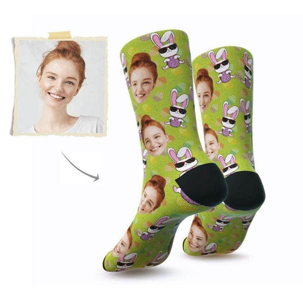MyPicSocks Custom Face Socks S (Women's 4-8) Custom Happy Easter Face Socks ( Funkie Bunny 7) - Best Gifts To Make This Easter Special