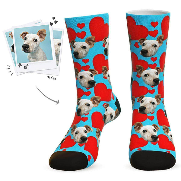 MyPicSocks Custom Face Socks Blue / L (Women's 12+ / Men's 10-13) Custom Heart Dog Socks - Best Gifts For Dog Lovers