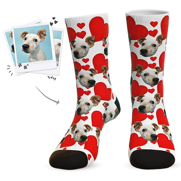 MyPicSocks Custom Face Socks White / L (Women's 12+ / Men's 10-13) Custom Heart Dog Socks - Best Gifts For Dog Lovers