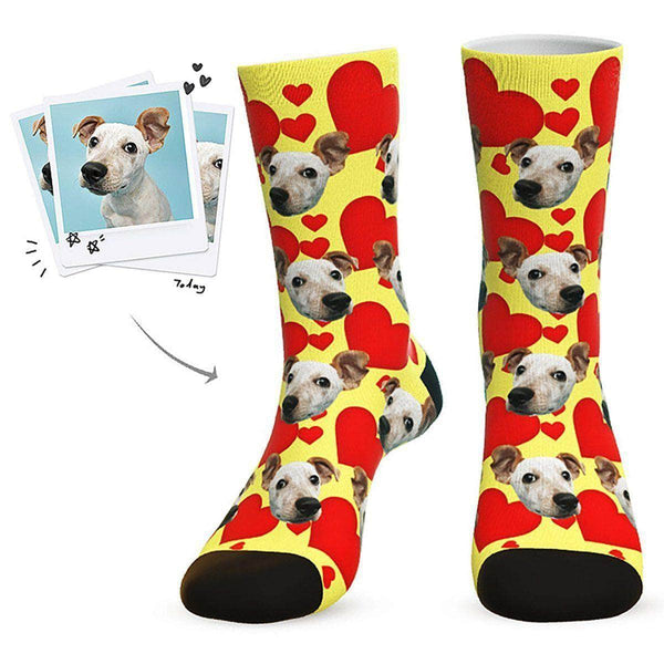 MyPicSocks Custom Face Socks Yellow / L (Women's 12+ / Men's 10-13) Custom Heart Dog Socks - Best Gifts For Dog Lovers