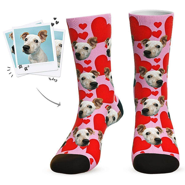 MyPicSocks Custom Face Socks Pink / L (Women's 12+ / Men's 10-13) Custom Heart Dog Socks - Best Gifts For Dog Lovers