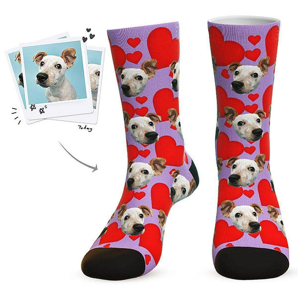 MyPicSocks Custom Face Socks Purple / L (Women's 12+ / Men's 10-13) Custom Heart Dog Socks - Best Gifts For Dog Lovers