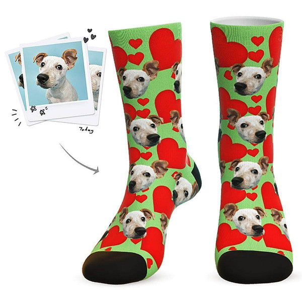 MyPicSocks Custom Face Socks Green / L (Women's 12+ / Men's 10-13) Custom Heart Dog Socks - Best Gifts For Dog Lovers