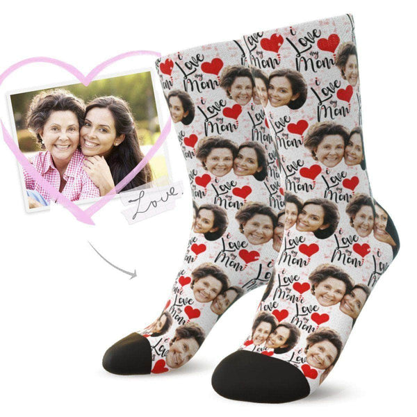 MyPicSocks Custom Face Socks L (WOMEN'S 12+ / MEN'S 10-13) Custom I Love My Mom Face Socks - Best Mother's Day Gifts For Mom