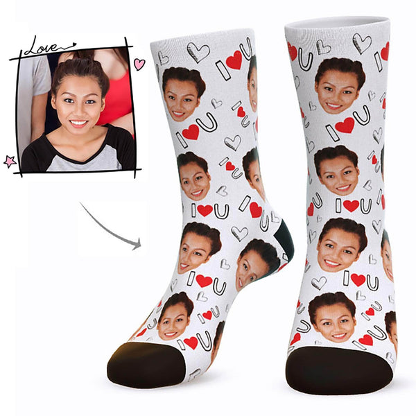 MyPicSocks Custom Face Socks White / L (Women's 12+ / Men's 10-13) Custom I Love U Face Socks  - Best Gifts For Who You Love