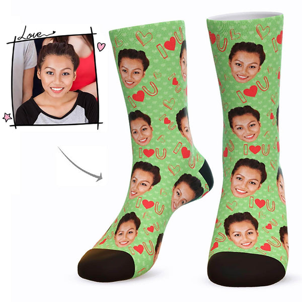 MyPicSocks Custom Face Socks Green / L (Women's 12+ / Men's 10-13) Custom I Love U Face Socks  - Best Gifts For Who You Love
