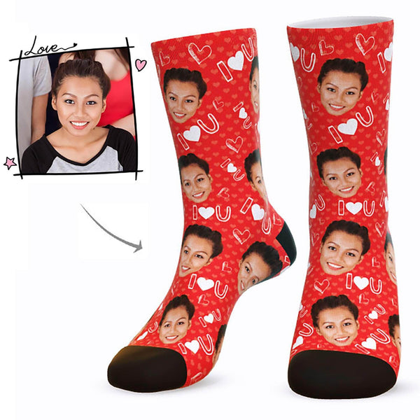 MyPicSocks Custom Face Socks Red / L (Women's 12+ / Men's 10-13) Custom I Love U Face Socks  - Best Gifts For Who You Love
