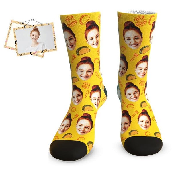"MyPicSocks Custom Face Socks L (Women's 12+ / Men's 10-13) Custom Party Food Face Socks - ""I DO IT Tacos"""