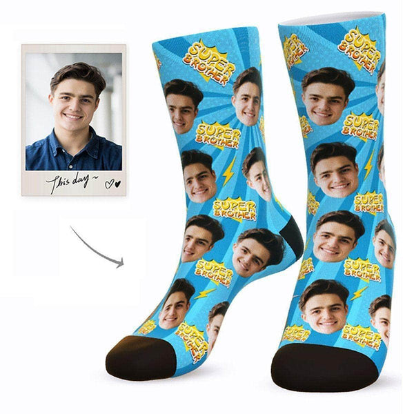 MyPicSocks Custom Face Socks L (Women's 12+ / Men's 10-13) Custom Super Brother Face Socks - Best Gifts For Brother