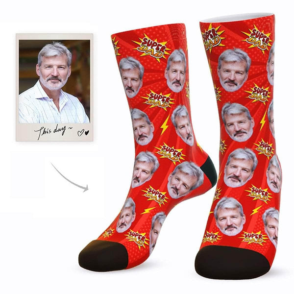 MyPicSocks Custom Face Socks L (Women's 12+ / Men's 10-13) Custom Super Dad Face Socks - Best Gifts For Dad