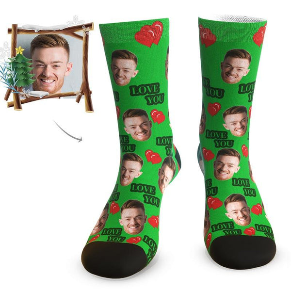 "MyPicSocks Custom Face Socks ""LOVE YOU"" Face Socks - Personalized Love Gifts"