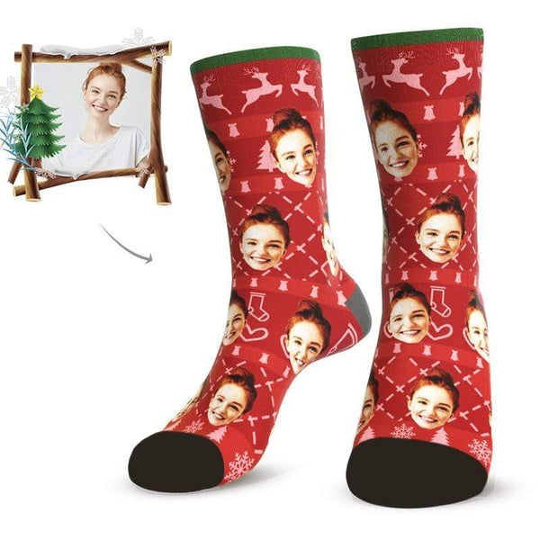 MyPicSocks Custom Face Socks L (Women's 12+ / Men's 10-13) Merry Christmas Facesocks Red- Best Personalized Christmas Gifts