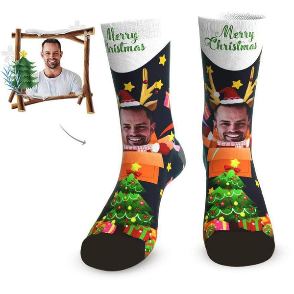 MyPicSocks Custom Face Socks L (Women's 12+ / Men's 10-13) Merry Christmas Tree Facesocks - Best Personalized Christmas Gifts