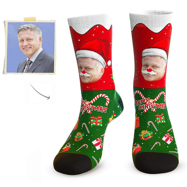 MyPicSocks Custom Face Socks L (Women's 12+ / Men's 10-13) Santa Claus Face Socks - Best Personalized Christmas Gifts