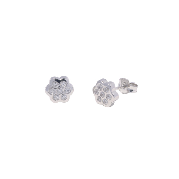 14K Italian Gold Kids Flower w/ Cubic Zirconia Stud Earrings