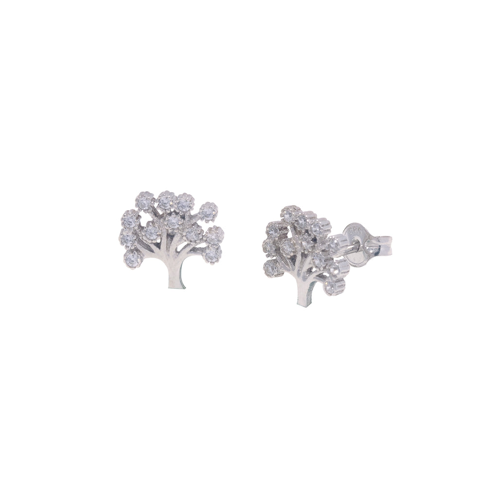 14K Italian Gold Kids Tree of Life with Cubic Zirconia Stud Earrings