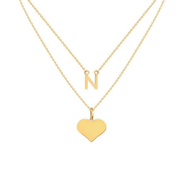 Adeline Two-Layer Initial Necklace in Yellow Gold