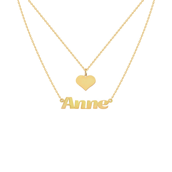 Renee Two-Layer Name Necklace in Yellow Gold