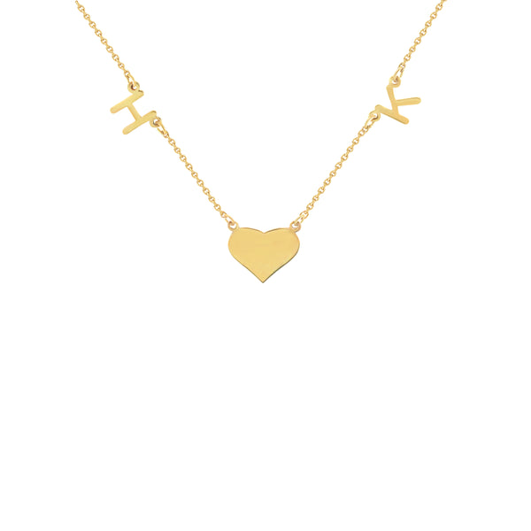 Vianca Initials and a Heart Charm Necklace in Yellow Gold