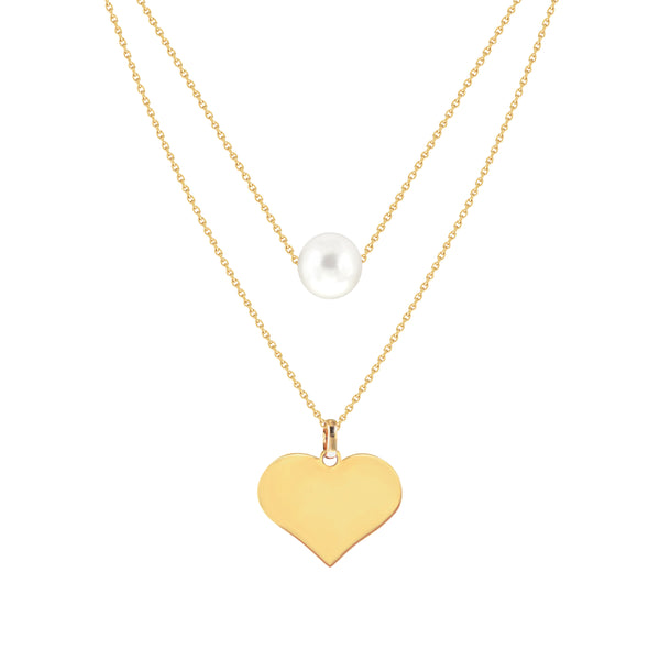Margaux Two-Layer Pearl Necklace in Yellow Gold