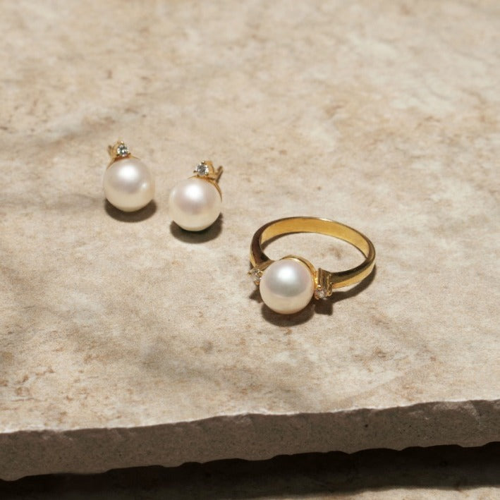 White Freshwater Pearl Earrings & Ring Set in 10k Yellow Gold Setting with .08ct Diamond