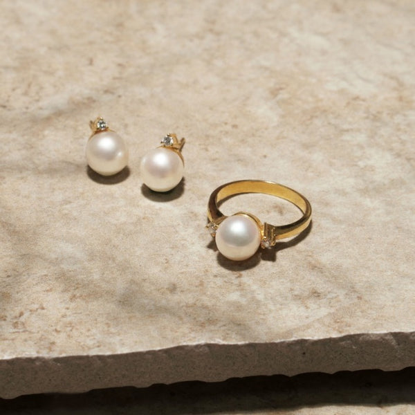 White Freshwater Pearl Earring & Ring Set in 10k Yellow Gold Setting with 0.08c Diamond