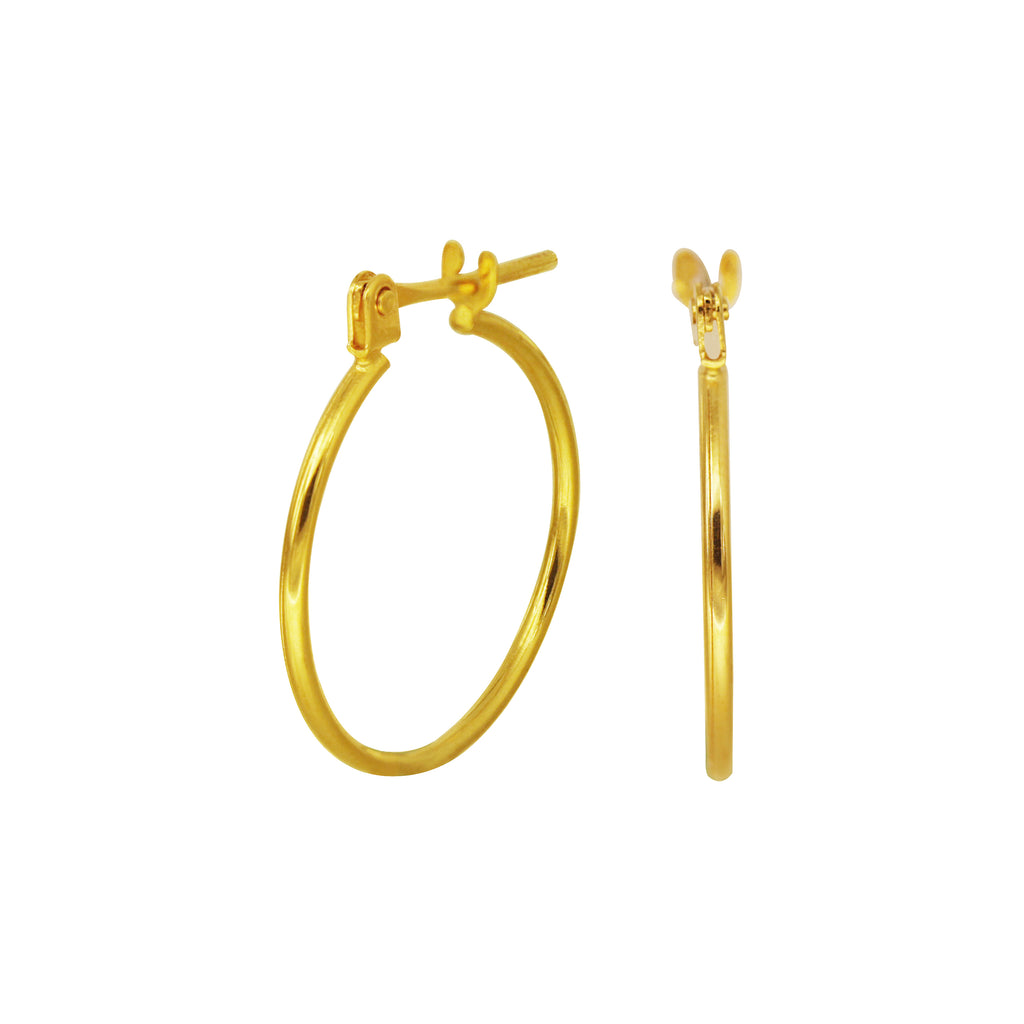 18K Chinese Gold Hoop Earrings