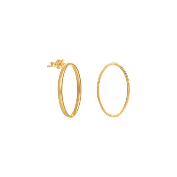 14K Italian Gold Oval Stud Earrings