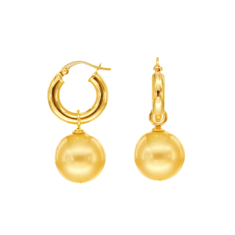 Golden South Sea Pearl Dangling Earrings in 14K Yellow Gold
