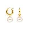 White South Sea Pearl Dangling Earrings in 14K Yellow Gold