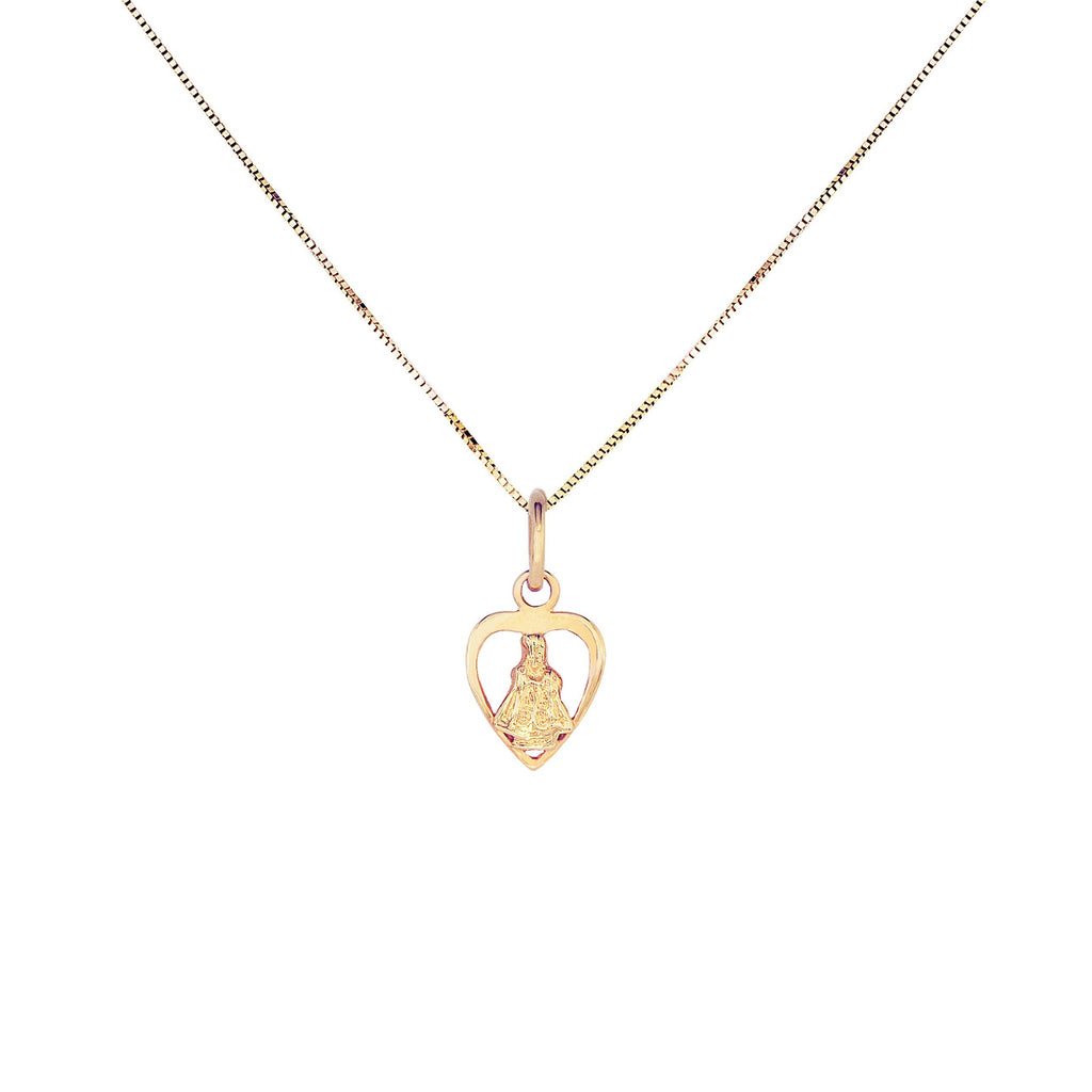 18K Chinese Gold Necklace with Sto Nino in Heart Charm