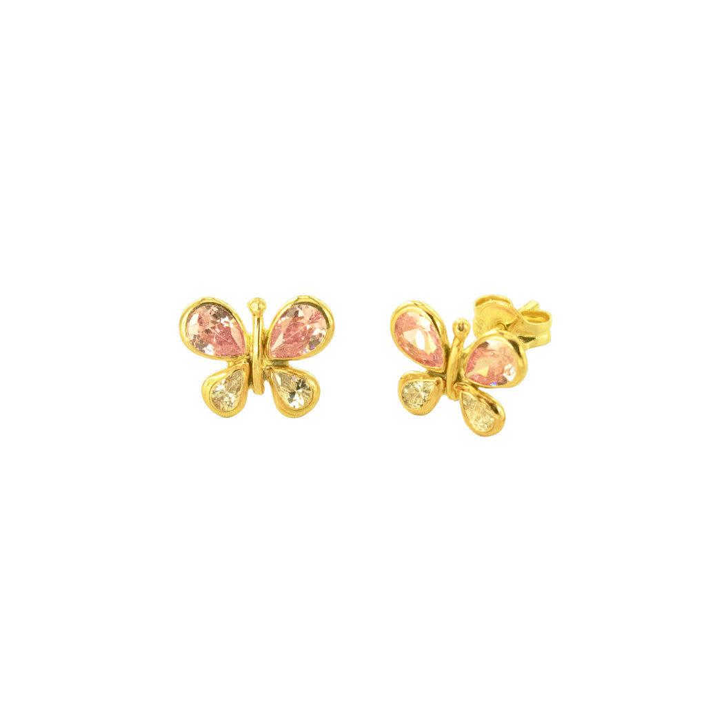 14K Italian Gold Kids Butterfly Cubic Zirconian Stud Earrings