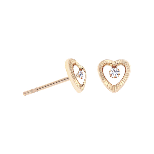 14K Italian Gold Heart with Cubic Zirconia Stud Earrings